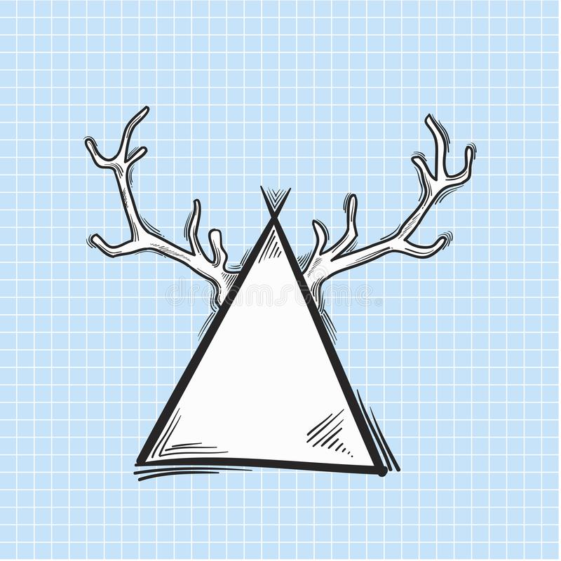 Illustration d'andouiller sur la triangle illustration stock