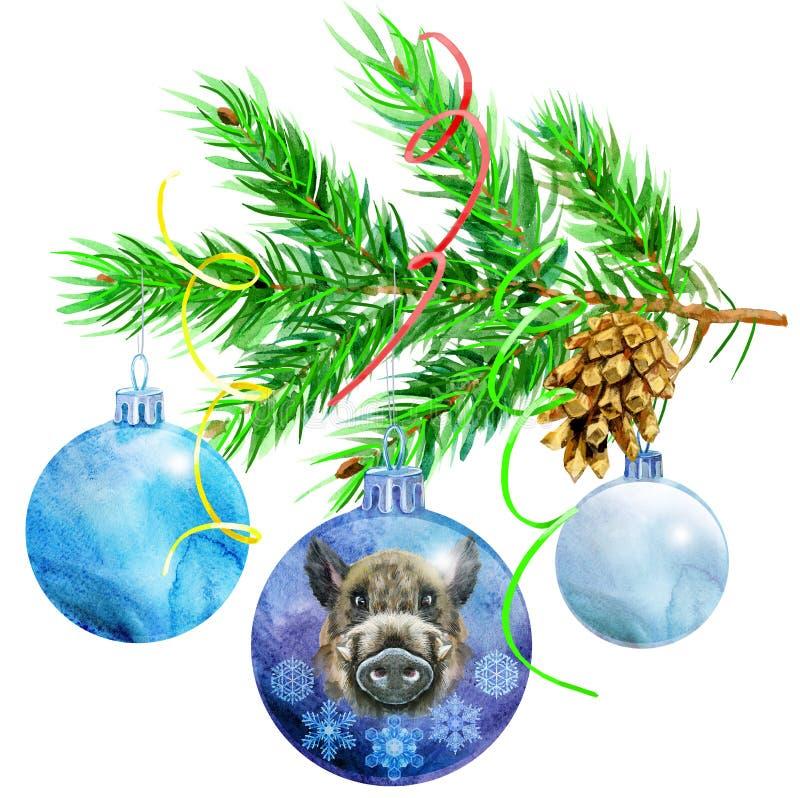 Illustration d'aquarelle d'ampoules de Noël Babiole avec la branche d'arbre de Noël illustration libre de droits