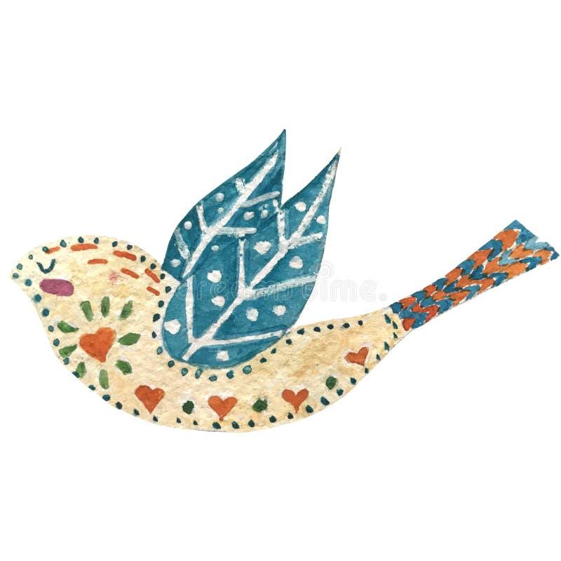Illustration d'aquarelle avec des oiseaux et des fleurs dans un style scandinave Gens art illustration de vecteur