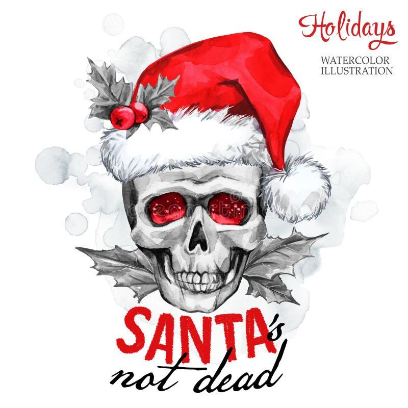 Illustration d'aquarelle Carte d'hiver Crâne peint à la main de monstre dans le chapeau de Santa Les mots Santa n'est pas mort No illustration libre de droits