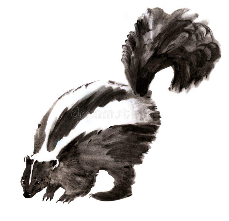 Illustration d'aquarelle d'une mouffette à l'arrière-plan blanc illustration de vecteur