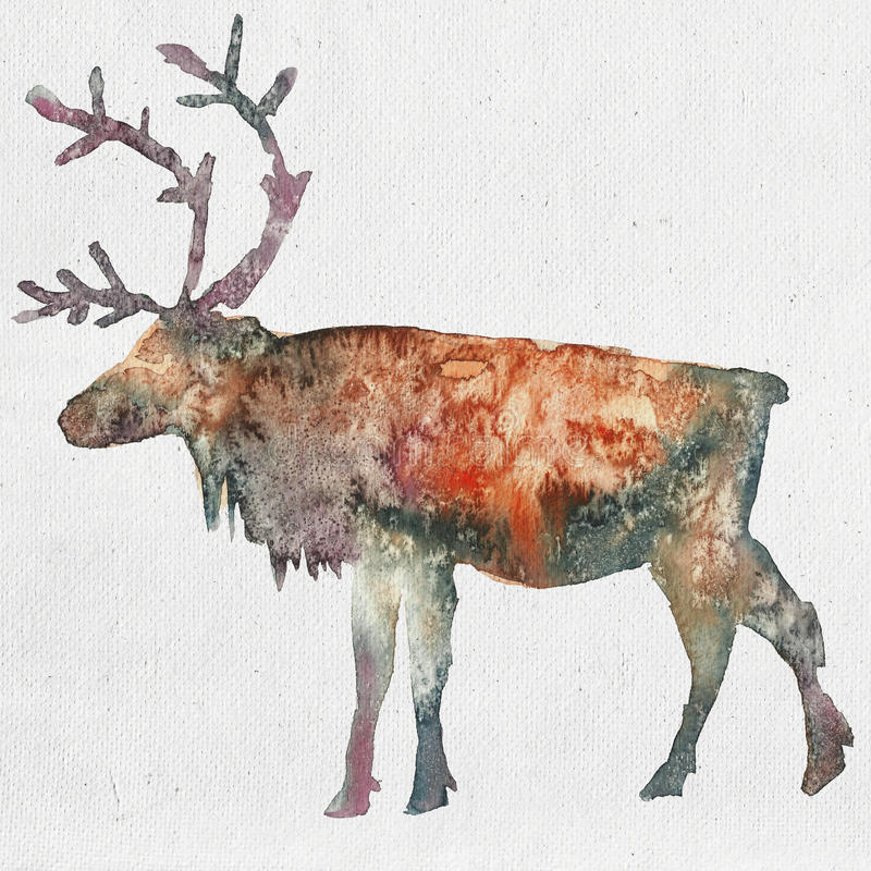 Illustration d'aquarelle d'une silhouette de cerfs communs illustration de vecteur