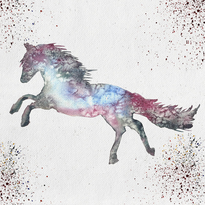 Download Illustration D'aquarelle D'une Silhouette De Cheval Illustration Stock - Illustration du peinture, fond: 77155536