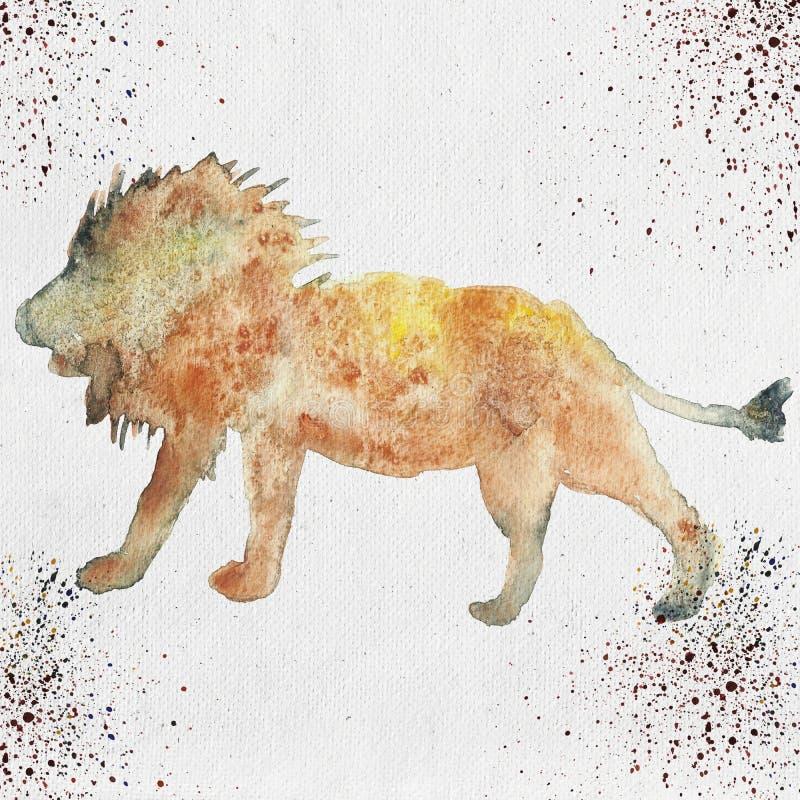 Download Illustration D'aquarelle D'une Silhouette De Lion Illustration Stock - Illustration du watercolor, main: 77157935