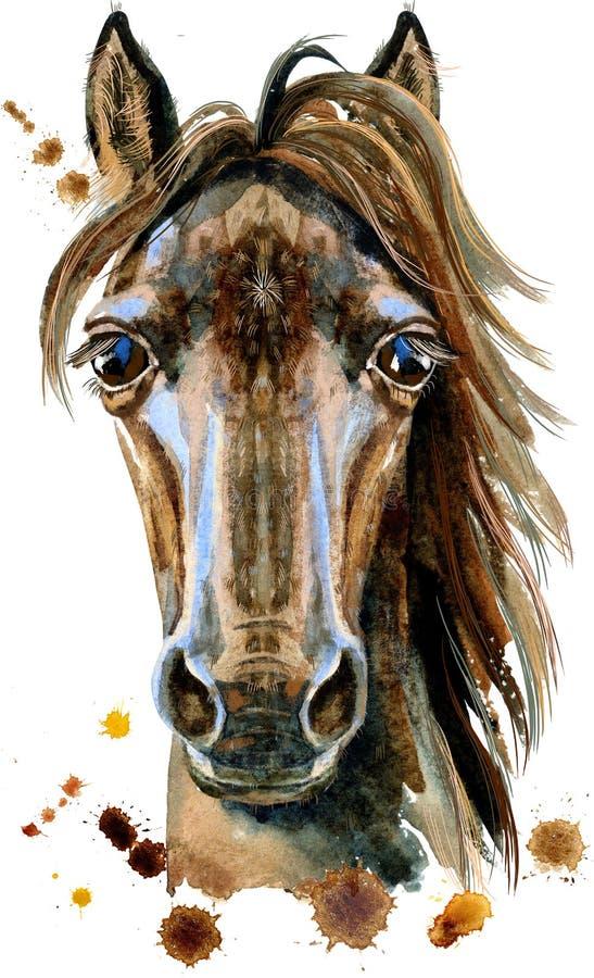 Illustration d'aquarelle de caractère d'horoscope de cheval d'isolement sur le fond blanc illustration libre de droits