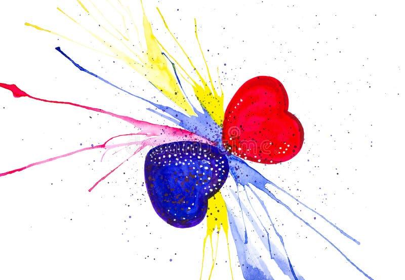 Illustration d'aquarelle de coeurs du résumé deux la Saint-Valentin D'isolement sur le fond blanc illustration stock