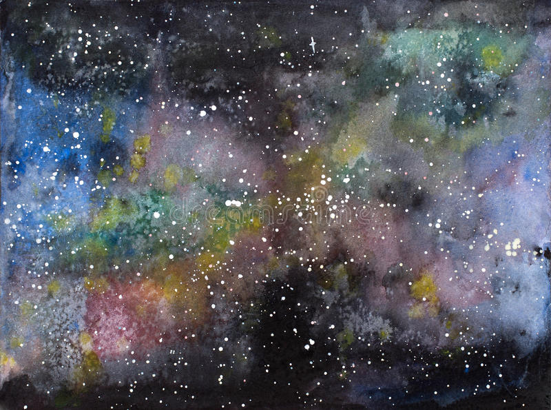 Illustration d'aquarelle de cosmos d'univers de galaxie illustration libre de droits