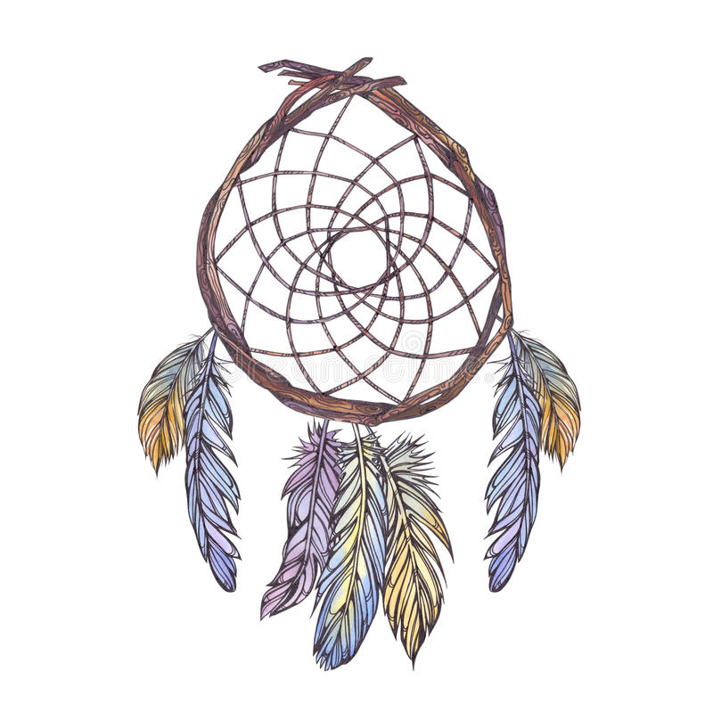 Illustration d'aquarelle de dreamcatcher des branches d'arbre, illustration stock