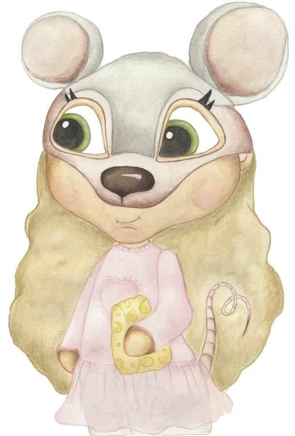 Illustration d'aquarelle de Forest Animals Un enfant porte le masque animal photos libres de droits