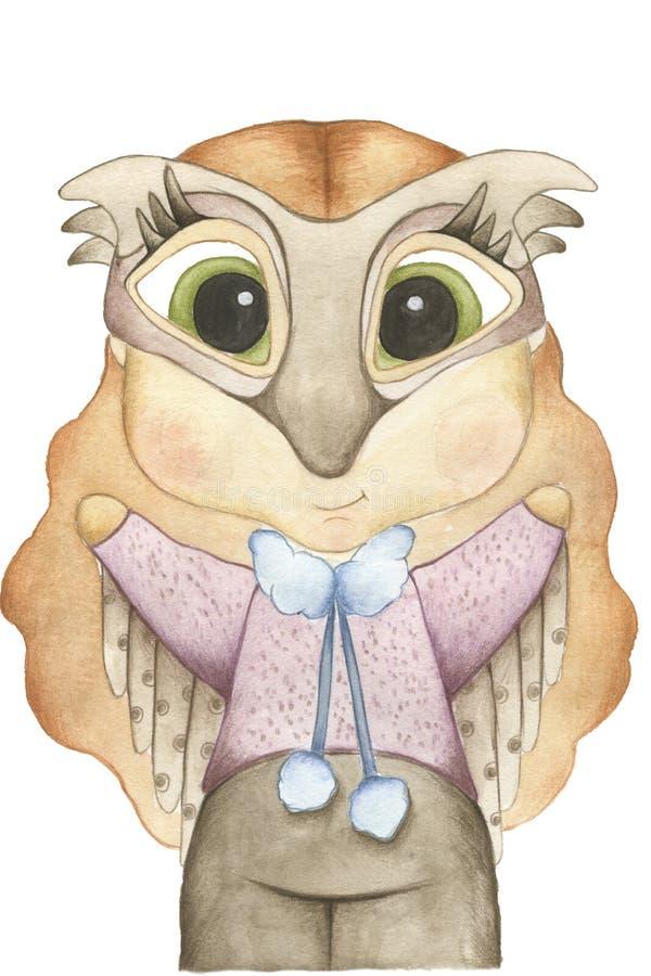 Illustration d'aquarelle de Forest Animals Un enfant porte le masque animal image stock