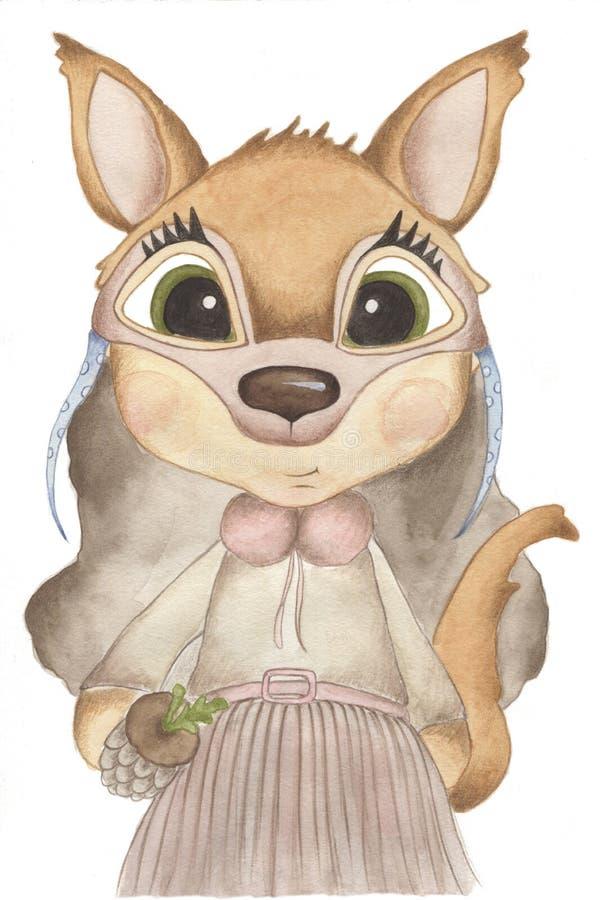 Illustration d'aquarelle de Forest Animals Un enfant porte le masque animal photographie stock
