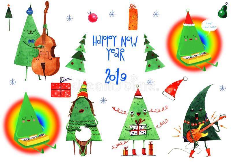 Illustration d'aquarelle de jour d'hiver de Noël, fond, carte postale, en-tête, félicitation, bonne année 2019 L'hiver illustration libre de droits