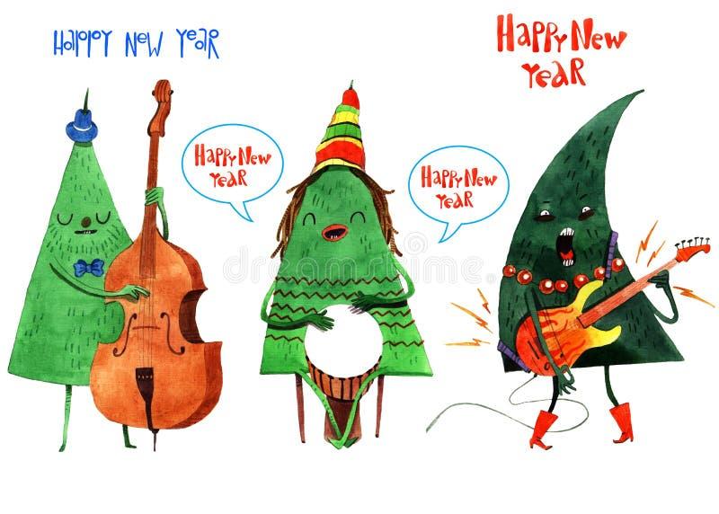 Illustration d'aquarelle de jour d'hiver de Noël, fond, carte postale, en-tête, félicitation, bonne année 2019 L'hiver illustration de vecteur