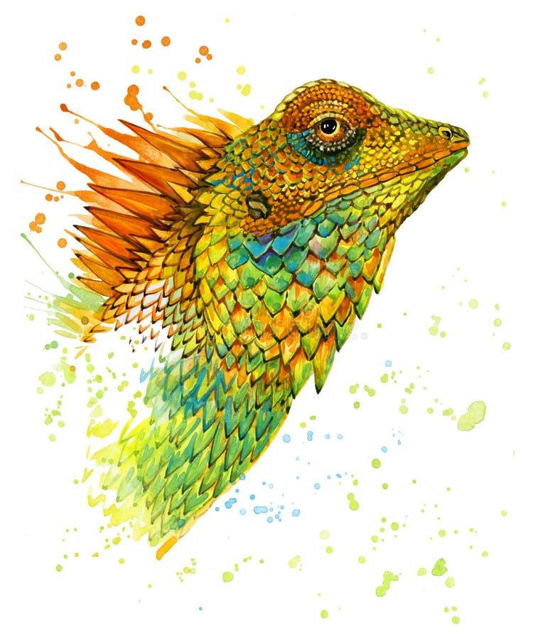Illustration d'aquarelle de lézard illustration libre de droits