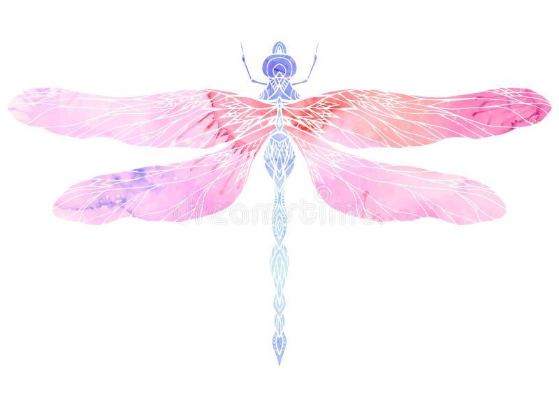 Illustration d'aquarelle de libellule avec le modèle de boho illustration stock