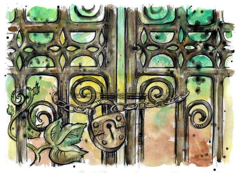 Illustration d'aquarelle de porte de fer travaillé illustration de vecteur