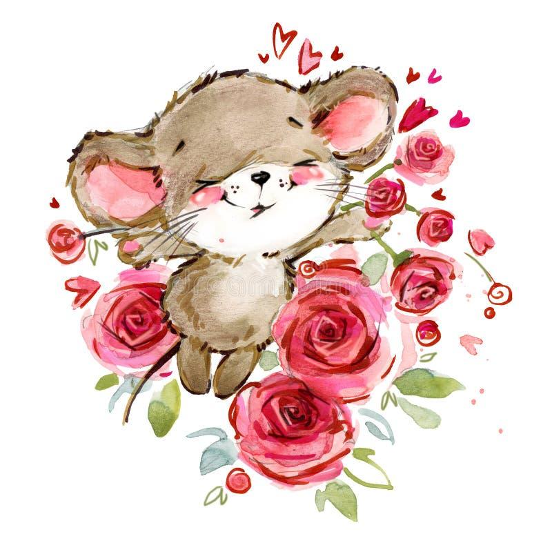 Illustration d'aquarelle de souris de bande dessinée Souris mignonnes illustration stock