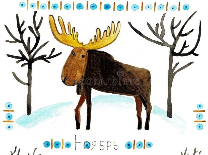 Illustration d'aquarelle dedans avec une silhouette d'un orignal et d'un modèle du nord images stock