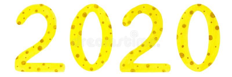 Illustration d'aquarelle des chiffres 2020 de style de fromage illustration stock