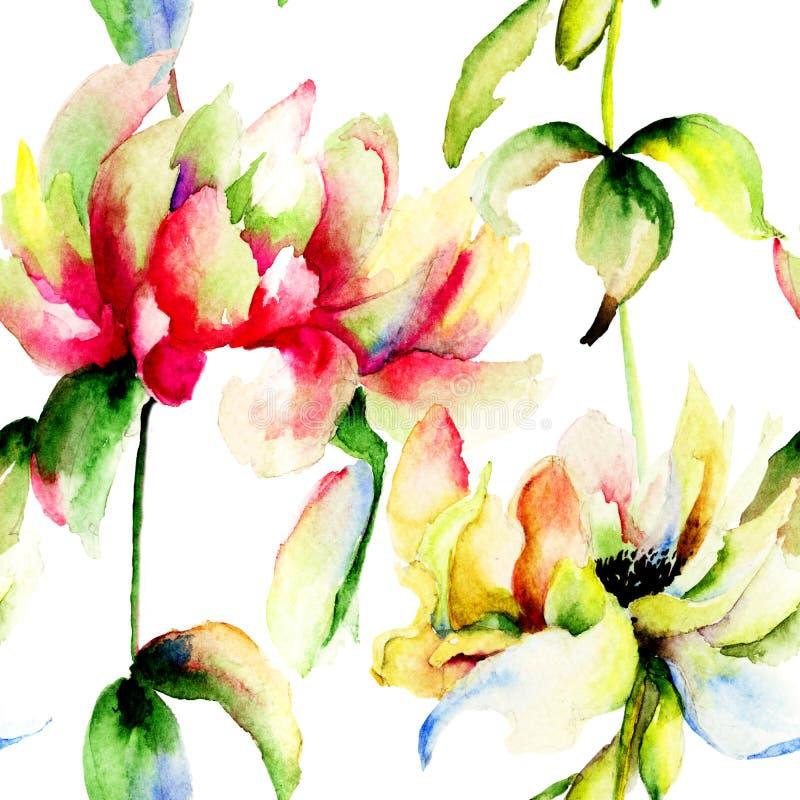 Illustration d'aquarelle des fleurs de pivoine illustration libre de droits