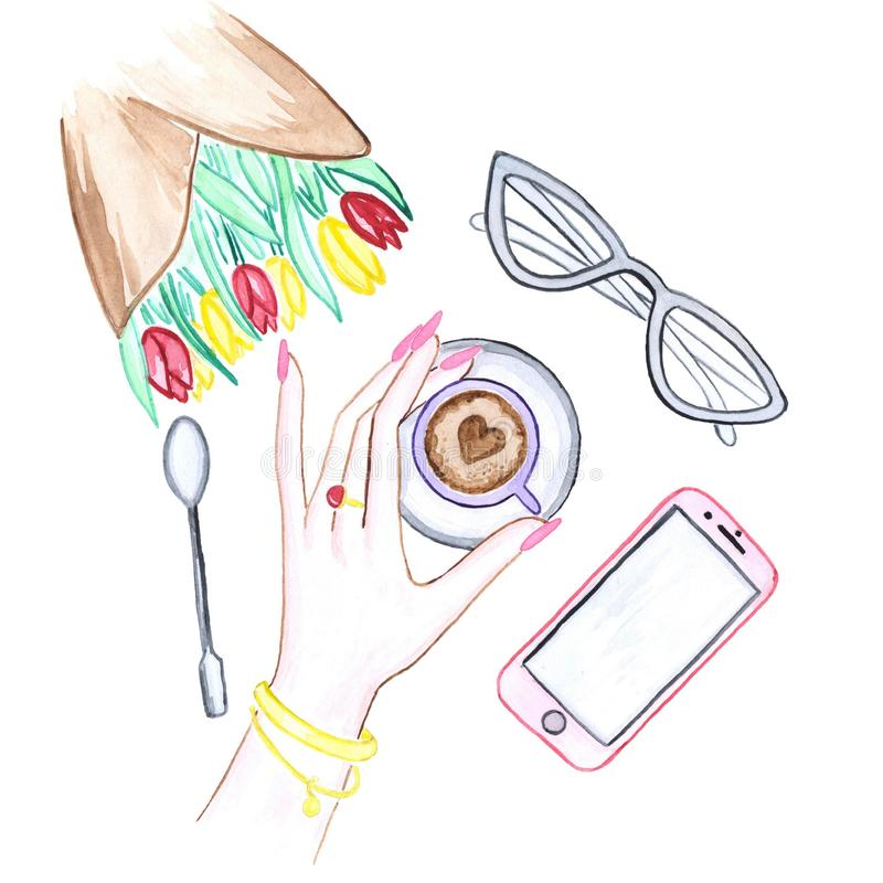 Illustration d'aquarelle des mains, des fleurs, du café, des verres et du téléphone illustration stock