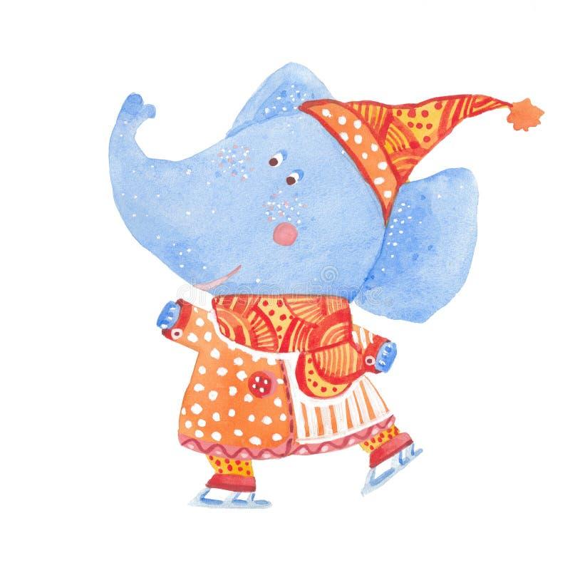 Illustration d'aquarelle du patinage d'éléphant illustration de vecteur