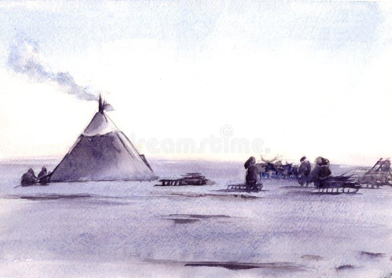Illustration d'aquarelle du paysage sibérien et des personnes illustration de vecteur