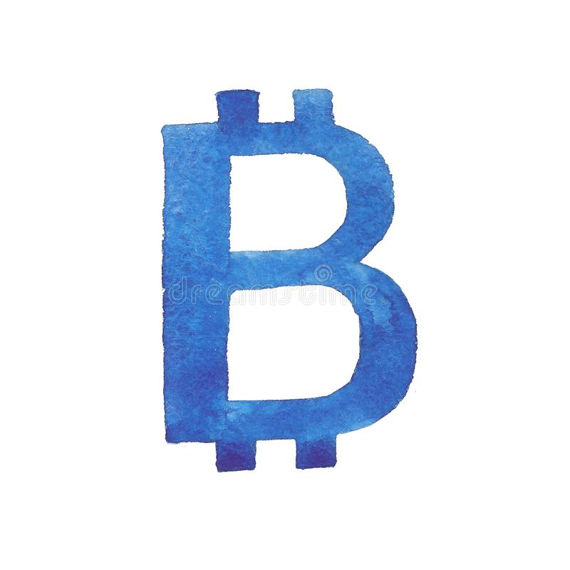 Illustration d'aquarelle du signe de bitcoin illustration de vecteur