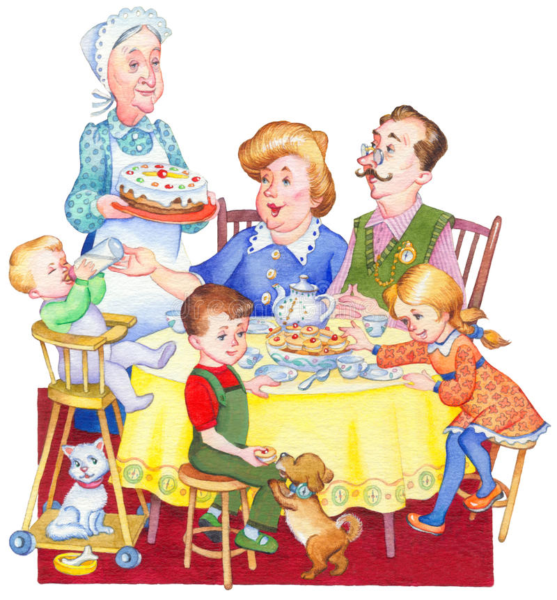 Illustration d'aquarelle Famille heureuse pour un thé de fête illustration de vecteur
