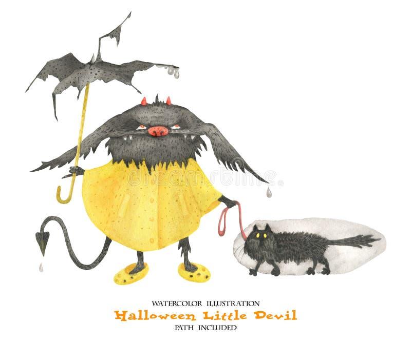 Illustration d'aquarelle pour Halloween Petit diable humide sous la pluie illustration stock