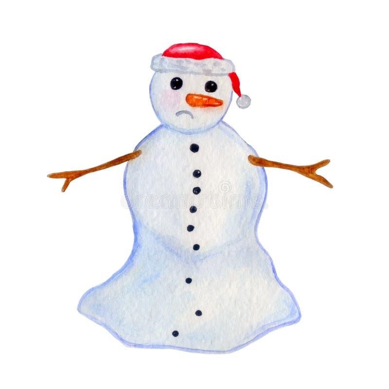 Illustration d'aquarelle d'un bonhomme de neige d'égoutture avec un chapeau de Noël illustration stock