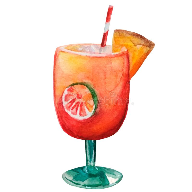 Illustration d'aquarelle d'un cocktail d'été dans un verre illustration de vecteur