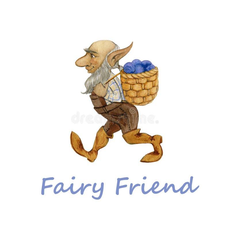 Illustration d'aquarelle d'un panier de transport de paille de petit gnome féerique mignon avec la myrtille illustration de vecteur