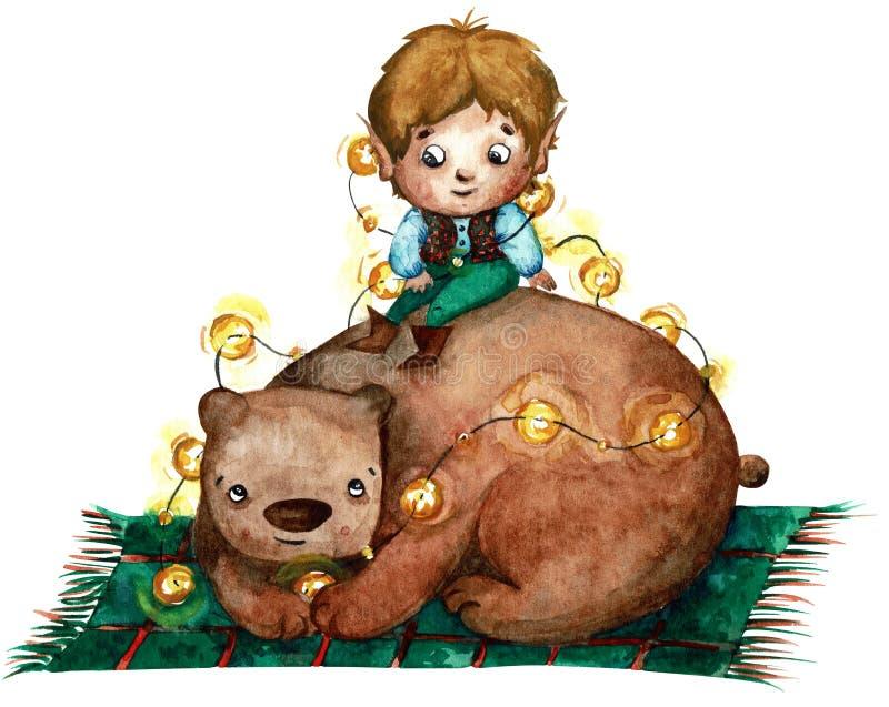 Illustration d'aquarelle d'un petit garçon avec de longues oreilles se reposant sur l'ours brun et tenant des lumières illustration stock