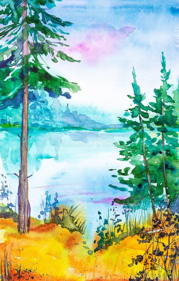 Illustration d'aquarelle d'une belle forêt russe sur le lac et d'herbe jaune dans le premier plan illustration stock