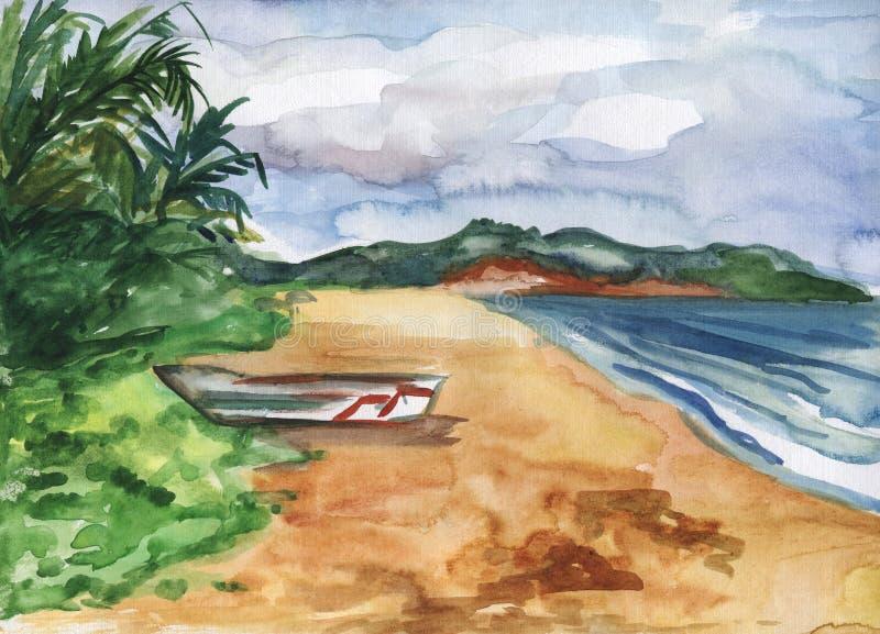 Illustration d'aquarelle d'une plage, d'un bateau, des vagues et des paumes tropicaux illustration de vecteur