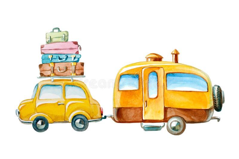 Illustration d'aquarelle voiture jaune tirée par la main avec la valise dessus illustration libre de droits