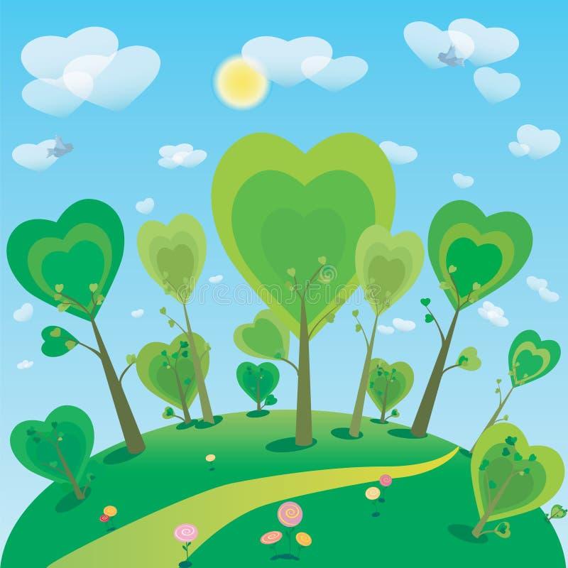 Illustration D 39 Arbre Et De Ciel De Monde Imaginaire Illustration De Vecteur Image 42529514