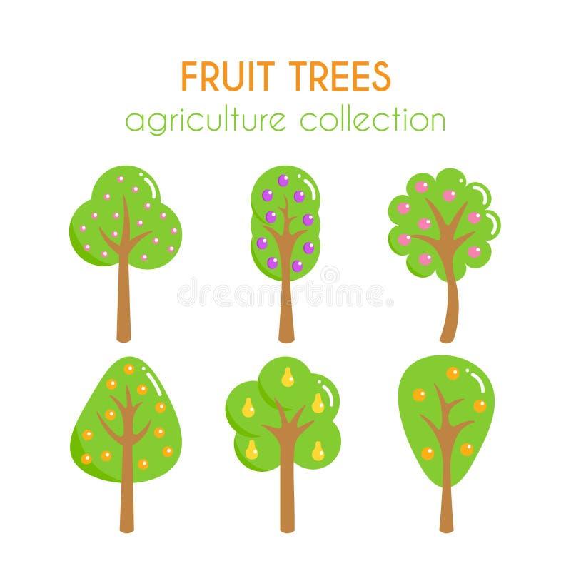 Illustration d'arbres fruitiers de vecteur Belle illustration de vecteur Ensemble de bande dessinée de prune et de poire Collecti illustration de vecteur