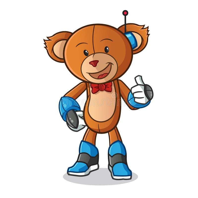 Illustration d'art de bande dessinée de vecteur de mascotte de mode de robot d'ours de nounours illustration de vecteur