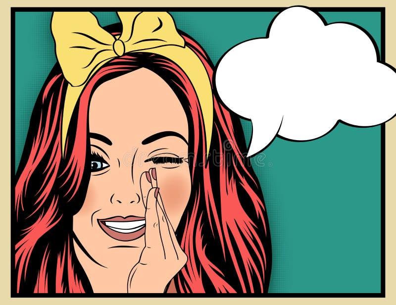 Illustration d'art de bruit de fille avec la bulle de la parole Fille d'art de bruit illustration de vecteur
