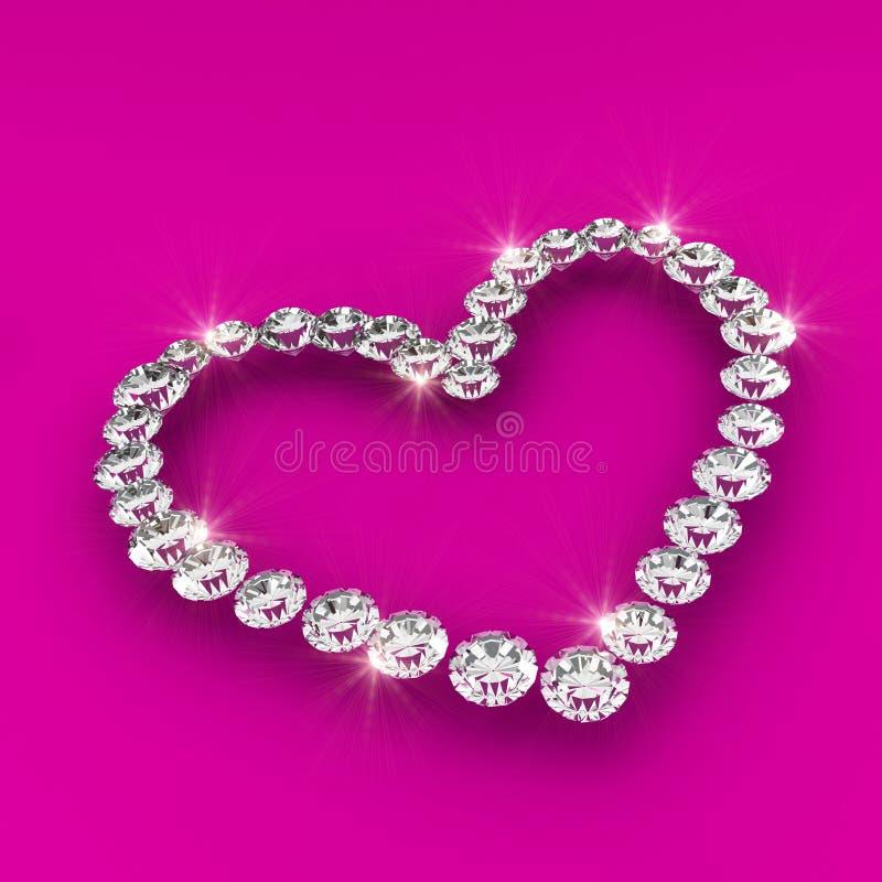 Illustration d'art de diamant de la forme 3d de coeur d'amour illustration stock