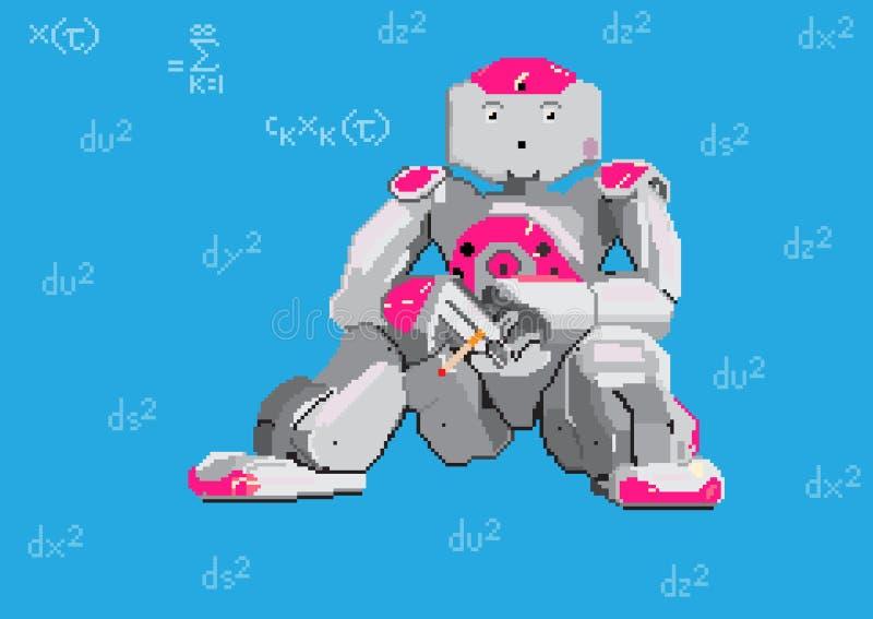 Illustration d'art de pixel Robot et formules Illustration de vecteur illustration libre de droits