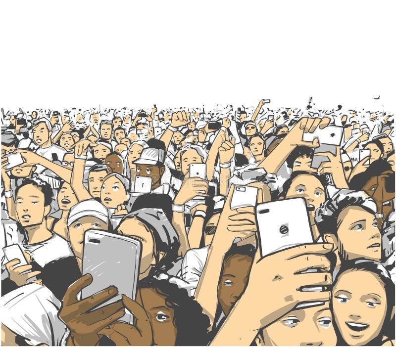 Illustration d'assistance de concert encourageant et enregistrant avec des téléphones à la représentation vivante de partie de fe illustration libre de droits