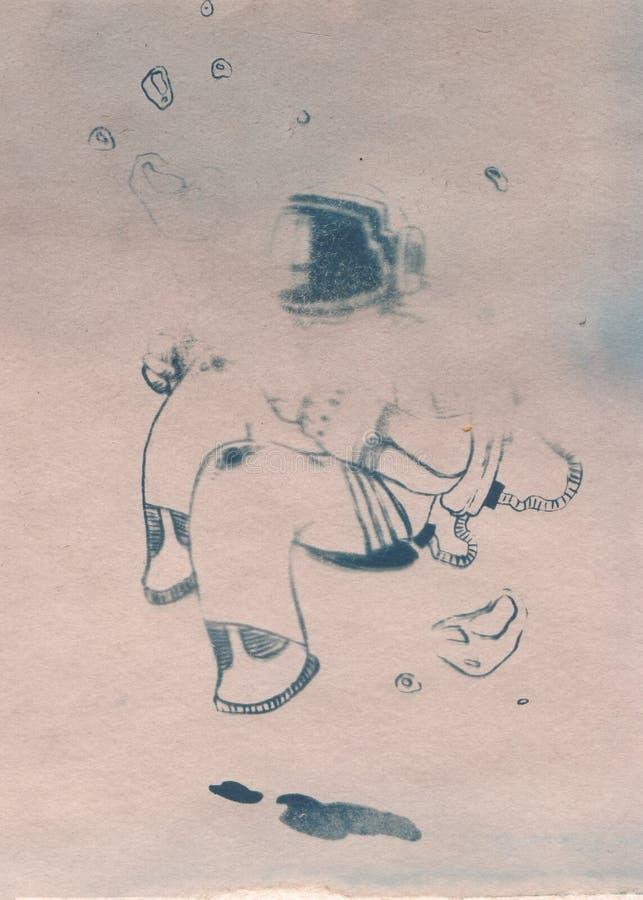 Illustration d'astronaute avec la combinaison spatiale dans l'espace d'ouverture illustration libre de droits