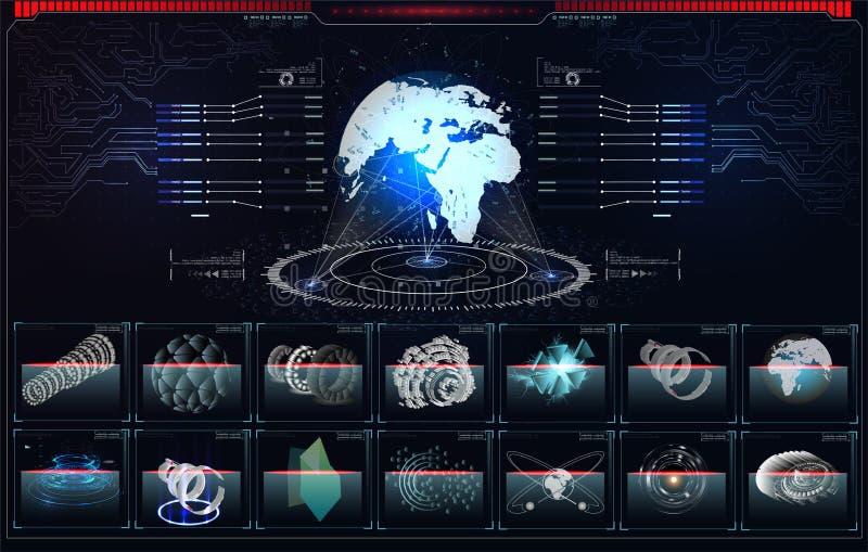 Illustration 3d ausführlicher virtueller Planet Erde Technologische digitale Kugelwelt Planetenhologramm mit futuristischem hud D vektor abbildung