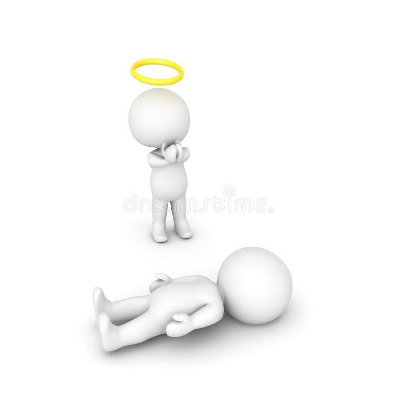 illustration 3D av ängeln som ber för sjuk person stock illustrationer