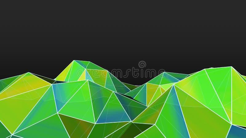 illustration 3D av abstrakt polygonal grön bergbakgrund med förbindelselinjer Anslutningsstruktur stock illustrationer