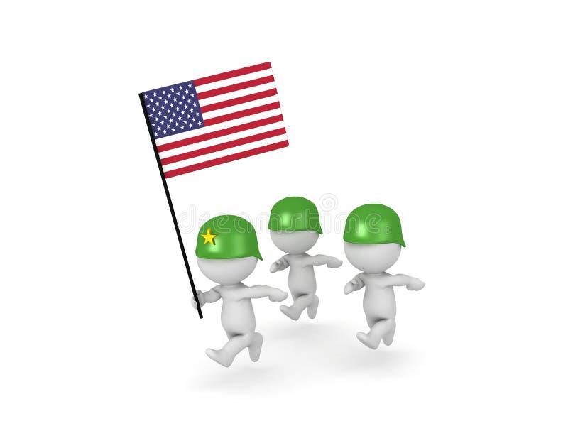 illustration 3D av arméofficeren som leder amerikanska soldater vektor illustrationer