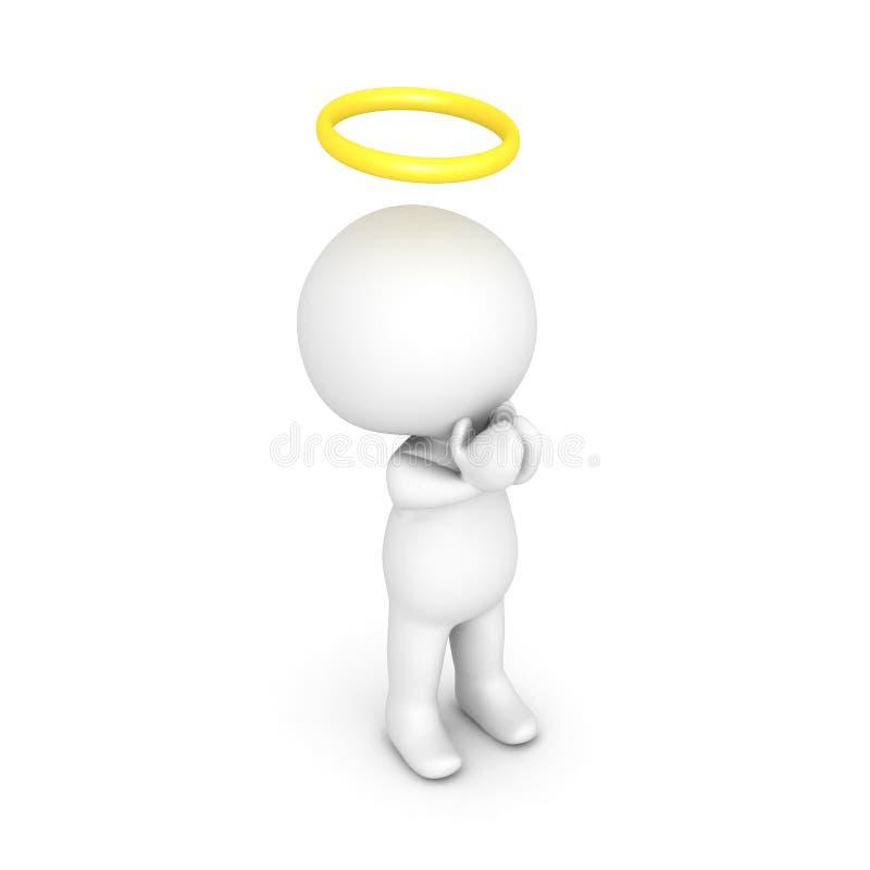 illustration 3D av att be för helgon eller för ängel royaltyfri illustrationer
